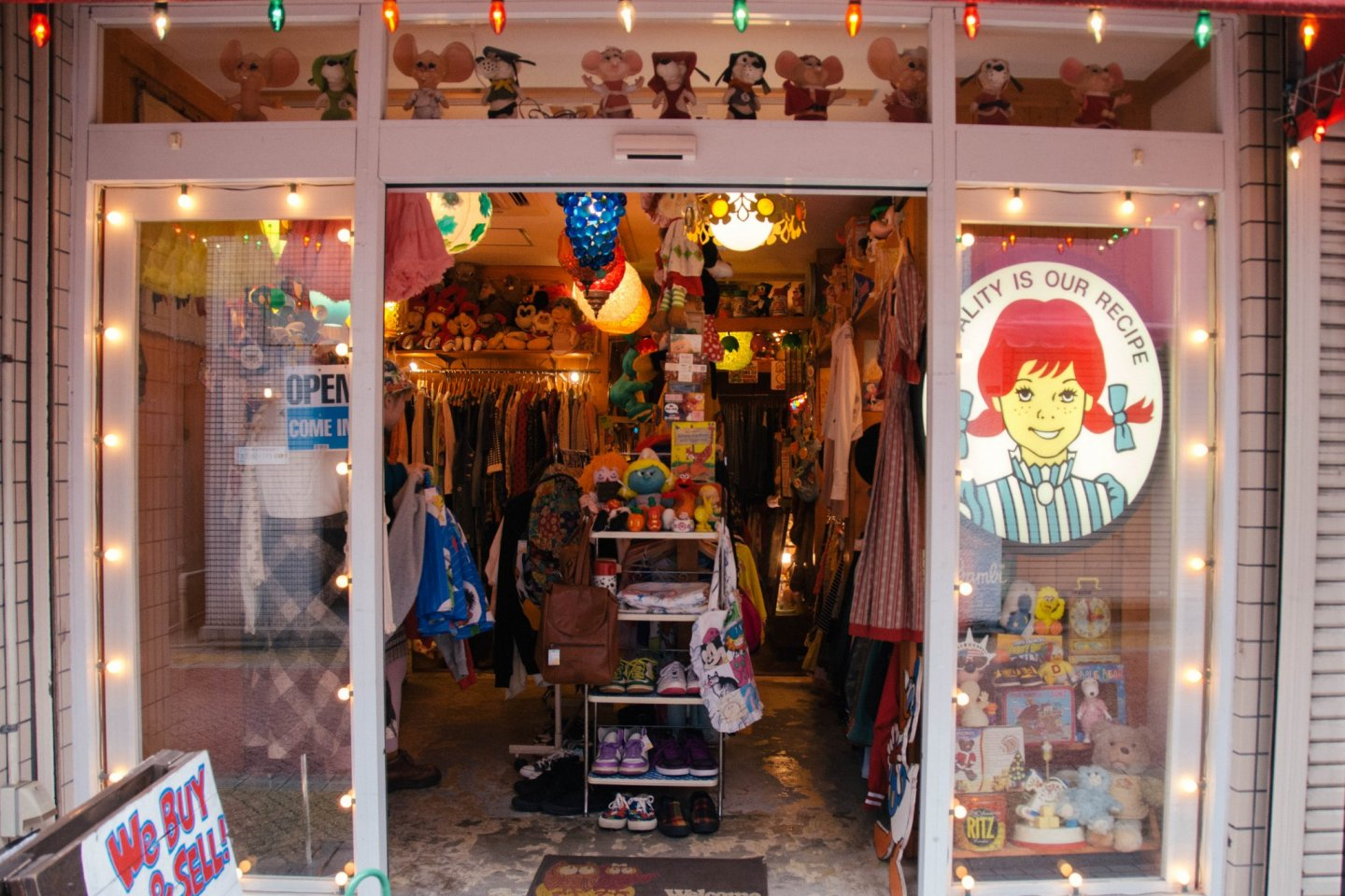 Cool shop selling vintage clothes and memorabilia.