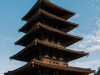 The five story pagoda where you can take the staircases to the top.