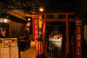 A Shinto shrine is built to make for a more authentic village atmosphere.