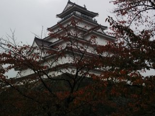 The castle on a rainy day, obscured by red leaves