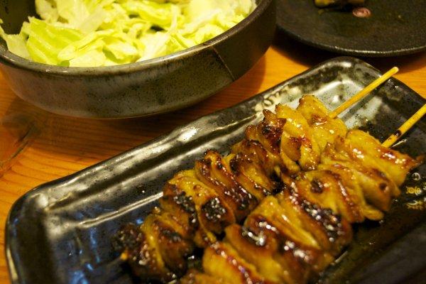 Chicken skin and cabbage