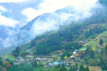 <p>Ochiai village in Iya is called the &#39;Village in the sky&#39;, and sprawls on the side of a mountain</p>
