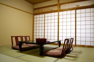 The same Japanese style room with tatami flooring from another angle