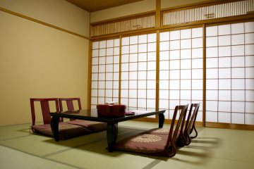 <p>The same Japanese style room with tatami flooring from another angle</p>