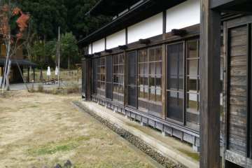 <p>The soba restaurant in a traditional wooden framed building</p>