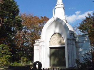 Atypical of Japanese religious structures, this one reminded me of white steeple churches.  I love the way the shadows fell on the building and ground.