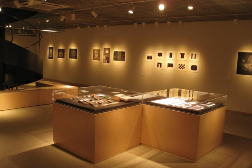 Prints and tools on display in the lower floor