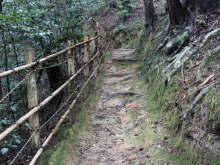 墓廟の左隅から小倉山の斜面の細道を100メートルほど進むと時雨亭だ