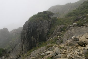 <p>Some ropes to help through a difficult pass</p>