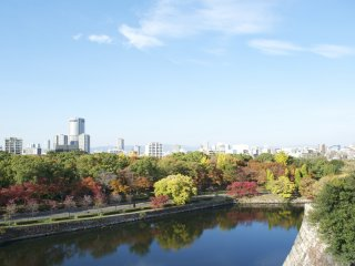 There's only nature, a stone wall, a river and some more nature separating Osaka's relaxing park from the hustle and bustle of the city