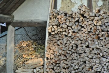 <p>Piled firewood for the kilns</p>