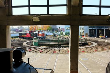 <p>A turntable that was used to turn locomotives, as seen from the locomotive house.</p>