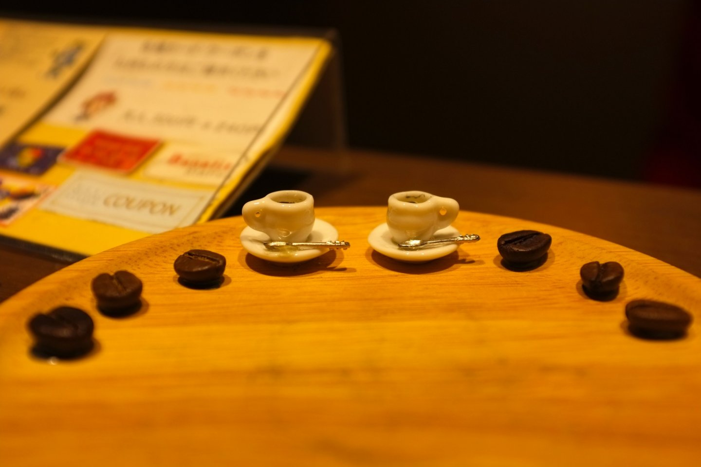 A miniature display of coffee cups