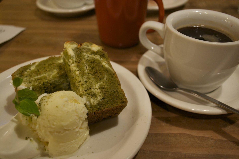 Close up of the green tea cake