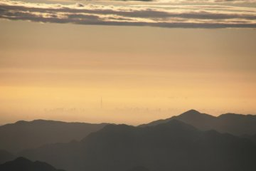 Tokyo Sky Tree is visible from the top of Fuji
