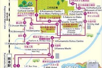 <p>แผนที่เส้นทางการเดินรถของ&nbsp;Kumamoto Castle Loop Bus (Shiromegurin)</p>