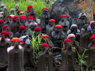 Jizo statues each slightly different.