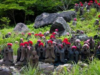 Hundreds of Jizo statues flank the path leading to the Killing Stone.