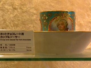 One of the many elaborately decorated pieces of porcelain art in the gallery.