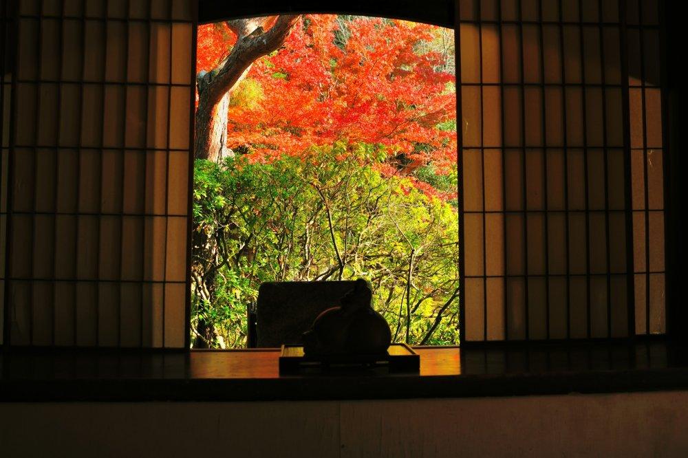 華頂殿(かちょうでん) の飾り窓から鮮やかな紅葉がのぞく