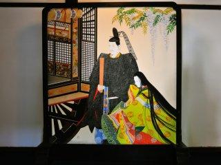 華頂殿から小御所への渡り廊下にある衝立。雅な絵柄が心を豊かにしてくれそうだ