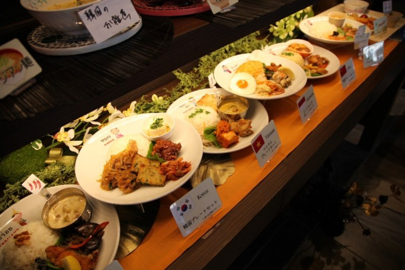 <p>Food samples representing a variety of countries</p>