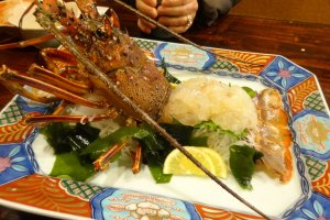 Spiny lobster sashimi is the first dish in one of Uoichi's special kaiseki courses