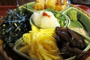 Nori seaweed, daikon radish, spring onions and other accompaniments to your noodles