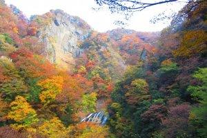 The golden hills of Daigo surrounding Fukuroda Falls in autumn