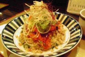 Fried rice with chili prawns.