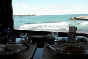 Enjoying a meal at the Banzai Diver's Cafe