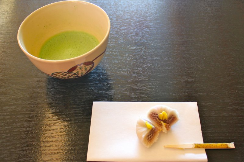 <p>One should eat the confection in its entirety to accentuate the slight bitterness of the matcha tea</p>