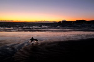 Sunset on the beach in Kanagawa, with a great view of Mt. Fuji