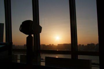 <p>Unique view of the setting sun</p>