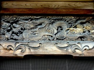 Wood carving of a dragon