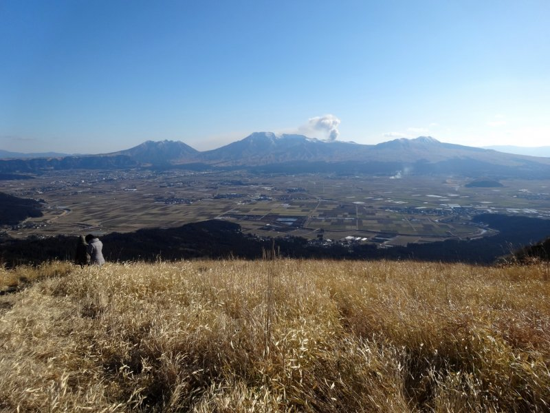 <p>A currently smoking Mt Aso can be seen from the Daikanbo lookout on Aso&#39;s scenic Milk Road</p>