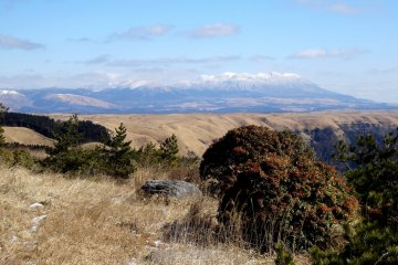 <p>You can also see over to the Kuju Range in Oita Prefecture</p>