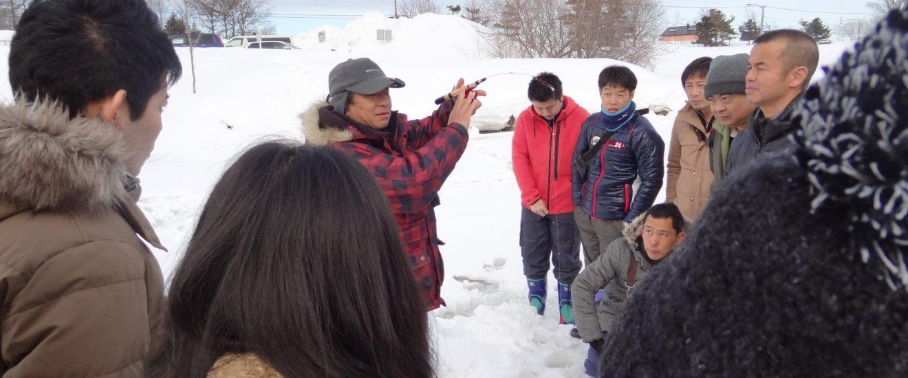 Ice fishing demonstration