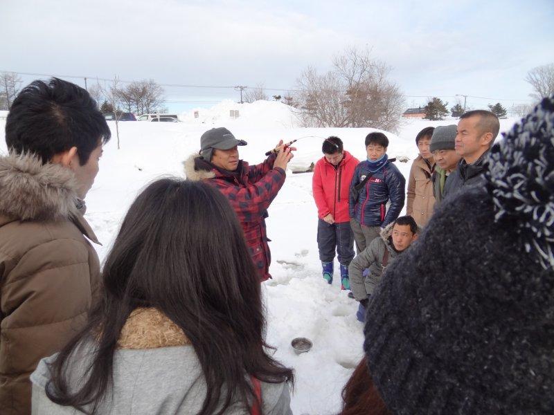 <p>Ice fishing demonstration</p>