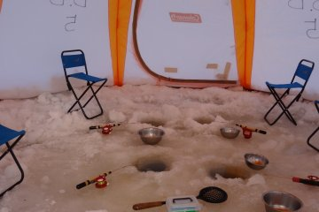 <p>Inside the ice fishing tents</p>