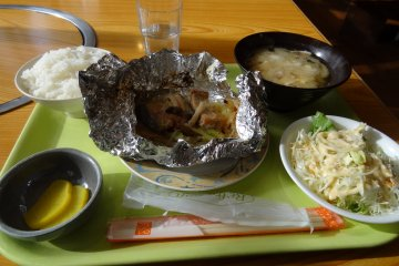 <p>Lunch of baked salmon, rice and miso soup.</p>