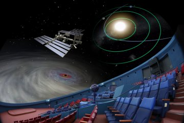 Hybrid planetarium of optical projector and the digital video