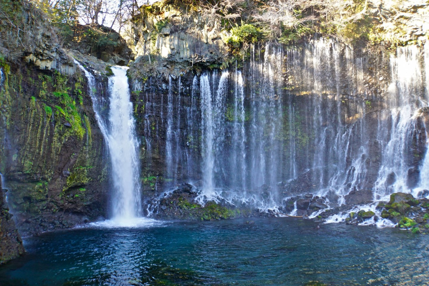 Shiraito no Taki, a curtain of threadlike waterfalls
