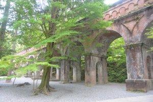Daun mapel di sekitar saluran air di Kuil Nanzenji