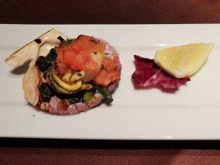 Seafood appetizer of the day: 'Hiougi' al forno aroma lemone