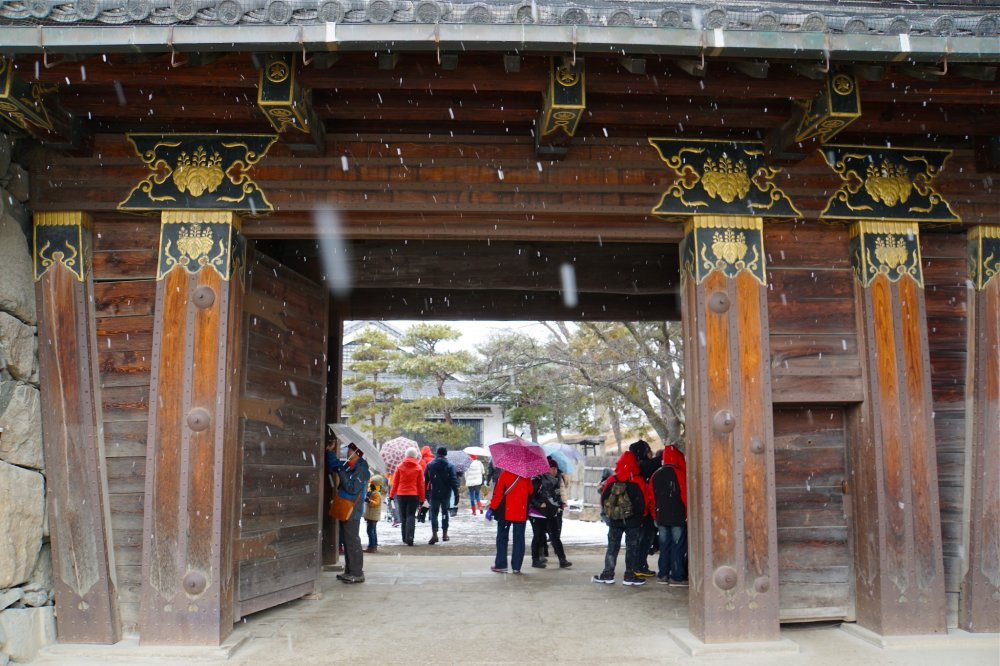 Visitors at the main entrance embrace the snowfall by holding umbrellas
