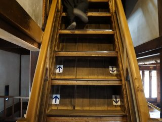 Wooden steps can be extremely steep, very wide, and hard on your soles. Be very careful!
