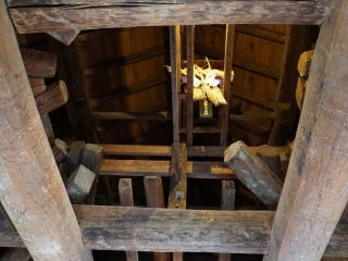 A miniature shrine placed in the attic portion of the 5th floor