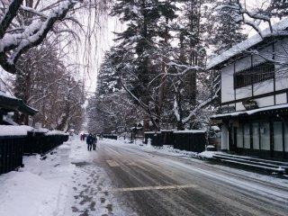 Gazing down main street, hypnotized by the winter charm