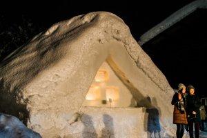Replika salju rumah jerami.